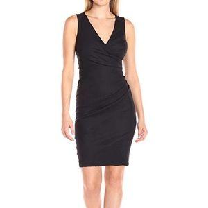 Nicole Miller Black V Neck Low Back Fitted Dress